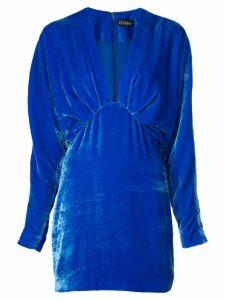 Cushnie velvet bat wing dress - Blue
