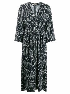 Odeeh printed pleated dress - Blue