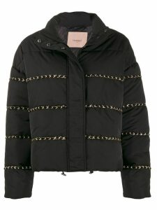 Twin-Set braid detail puffer jacket - Black