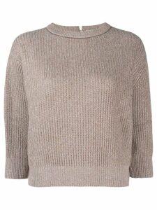 Brunello Cucinelli knitted cropped sweatshirt - Brown