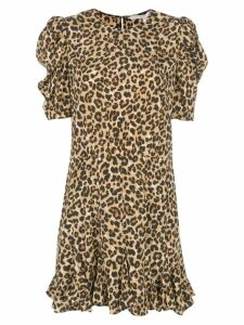 Veronica Beard ruffled hem leopard print dress - Brown