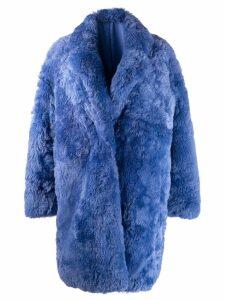 Liska single-breasted fur coat - Blue