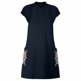 GISY - Amsterdam Spring Mandala Embroidered Raw Silk Shift Dress