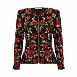 HASANOVA - Rosie Red & Gold 3D Sequin Silk Jacket Top