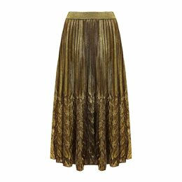 HASANOVA - Golden Metallic Midi Skirt