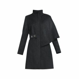 Rumour London - Mayfair Asymmetric Charcoal Wool Blend Coat