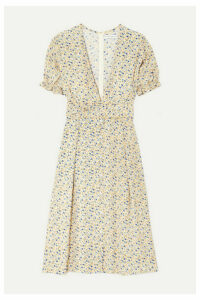 Faithfull The Brand - Farah Floral-print Crepon Midi Dress - Pastel yellow