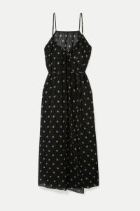 RIXO - Misty Floral-print Cotton And Silk-blend Crepon Wrap Midi Dress - Black