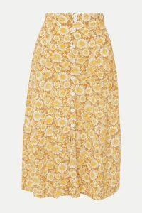 Faithfull The Brand - Marin Floral-print Crepe Midi Skirt - Light brown
