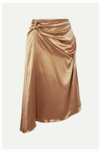 Versace - Embellished Asymmetric Silk-charmeuse Skirt - Tan