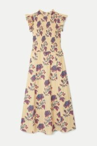 SEA - Odette Shirred Floral-print Cotton Midi Dress - Cream