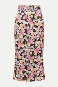 Art Dealer - Belted Floral-print Satin Midi Skirt - Black