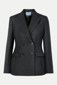 Prada - Double-breasted Checked Wool-blend Blazer - Gray