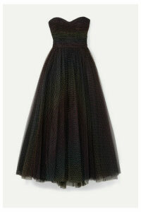 Monique Lhuillier - Ruched Polka-dot Flocked Tulle Gown - Black