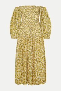 Rhode - Harper Smocked Floral-print Cotton-gauze Midi Dress - Yellow