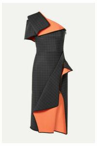Maticevski - Aquatic Draped One-shoulder Checked Ponte Dress - Black