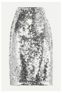 Alice + Olivia - Ramos Sequined Tulle Skirt - Silver