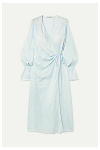 Art Dealer - Shirred Silk-jacquard Wrap Dress - Sky blue