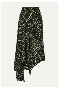 Petar Petrov - Leather-trimmed Polka-dot Silk-crepe Midi Skirt - Black