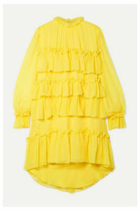 Adam Lippes - Tiered Ruffled Silk-chiffon Mini Dress - Bright yellow