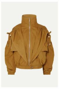 Zimmermann - Espionage Ruched Hooded Cotton-gabardine Jacket - Mustard