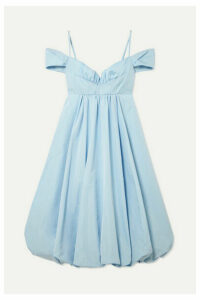 Simone Rocha - Bell Cold-shoulder Gathered Taffeta Midi Dress - Light blue
