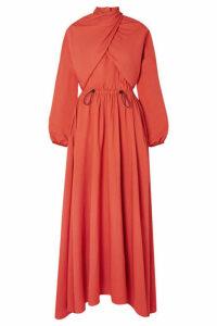 KENZO - Draped Twill Maxi Dress - Orange