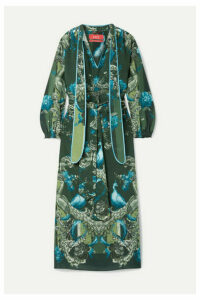 F.R.S For Restless Sleepers - Satin-trimmed Printed Silk Crepe De Chine Maxi Dress - Green