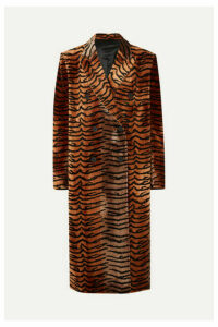 Attico - Oversized Velvet-jacquard Coat - Brown