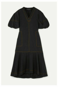 Lee Mathews - Ginger Tiered Tencel-blend Midi Dress - Black
