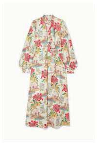 Peter Pilotto - Cord-trimmed Printed Crepe Maxi Dress - White
