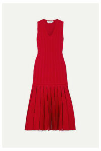 Alexander McQueen - Pleated Ribbed-knit Midi Dress - Red