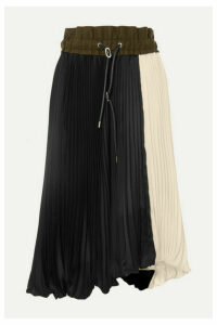 Sacai - Wool Felt-trimmed Pleated Two-tone Satin Midi Skirt - Black