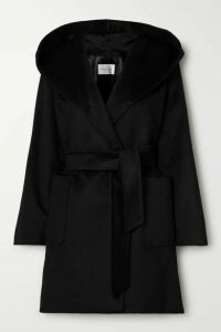 Max Mara - Rialto Hooded Belted Camel Hair Coat - Black