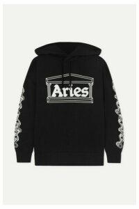 Aries - 2 Chains Printed Cotton-jersey Hoodie - Black