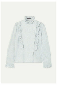 ALEXACHUNG - Ruffled Printed Cotton-twill Blouse - Ivory