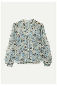 Veronica Beard - Ashlynn Floral-print Silk-chiffon Blouse - Blue