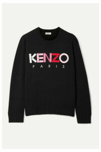 KENZO - Appliquéd Embroidered Wool Sweater - Black