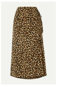 Veronica Beard - Vanity Ruched Leopard-print Stretch-silk Midi Skirt - Leopard print