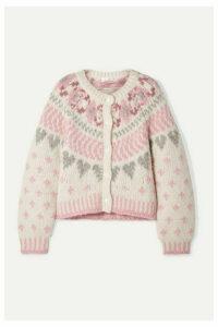 LoveShackFancy - Jamie Fair Isle Knitted Cardigan - Cream