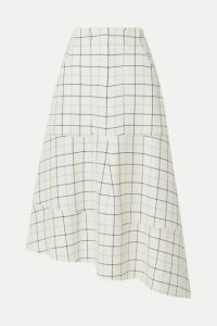Tibi - Asymmetric Checked Woven Midi Skirt - White