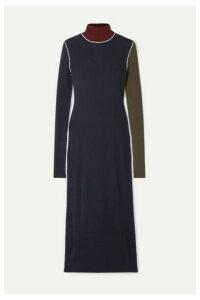 Maison Margiela - Color-block Ribbed Wool Turtleneck Midi Dress - Blue