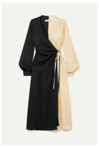 Art Dealer - Ruched Two-tone Silk-jacquard Wrap Dress - Black