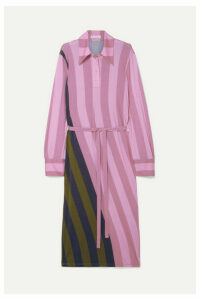 JW Anderson - Belted Striped Stretch-jersey Midi Dress - Pink