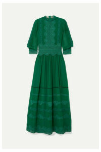 Costarellos - Velvet-trimmed Embroidered Silk-chiffon Gown - Emerald