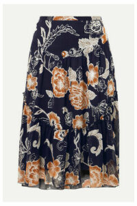See By Chloé - Tiered Metallic Silk And Cotton-blend Crepon-jacquard Skirt - Navy