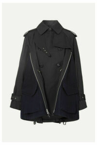 Sacai - Cotton-gabardine And Wool-felt Trench Coat - Black