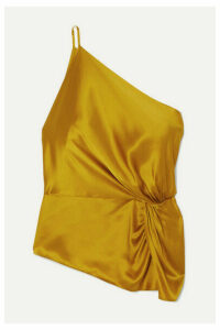 Michelle Mason - One-shoulder Knotted Silk-charmeuse Top - Mustard