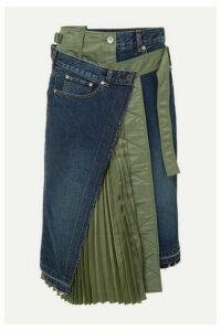 Sacai - Paneled Denim And Shell Midi Skirt - Blue