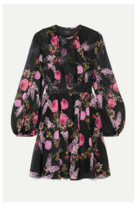Giambattista Valli - Lace-trimmed Floral-print Silk-georgette Mini Dress - Black